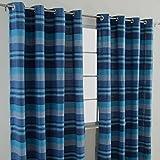 Homescapes handgewobener Vorhang Morocco im 2er Set Ösenvorhang 170 x 230 cm (Breite x Länge) Dekoschal in Streifen-Optik aus 100% reiner Baumwolle in blau