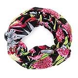 MANUMAR Loop-Schal für Damen | feines Hals-Tuch in schwarz bunt mit Blumen Motiv als perfektes Herbst Winter Accessoire | Schlauch-Schal | Damen-Schal | Rund-Schal | Das ideale Geschenk für Frauen
