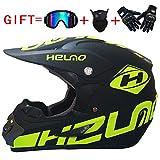 YWLG Off-Road Motorrad Racing Helm Vollgesichts Unisex Dämpfung Durable Motorsport Helm Vier Saison Mit Brille Maske Handschuh,D-M54-55cm