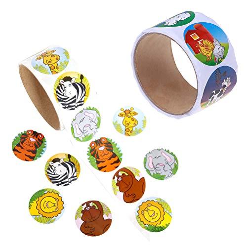 STOBOK 1 stück 100 Blätter Cartoon Nutztiere Stil Etikettenpapier Nette Aufkleber Rolle Aufkleber für Urlaub Festival Geburtstagsfeier Jahr (3,8 * 3,8 cm)