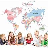 Tiptiper Bambino Bambino Camera Adesiva Camera da letto per bambini Mappa del mondo didattico della scuola Decorazione Colourful Lettera Inglese