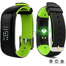 "ROGUCI 0.86 ""OLED Bluetooth Wearable Smartband, Impermeable IP67 pulsera pulsera inteligente, Monitor de presión arterial, Monitor de ritmo cardíaco,Verde"