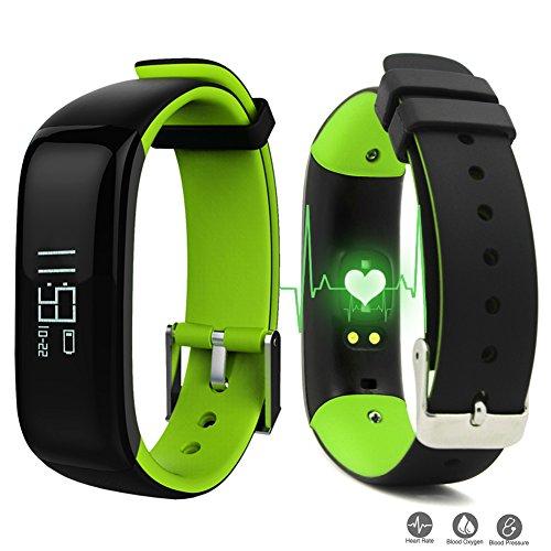 Dax-Hub P1 Bluetooth 4.0 IP67 impermeabile intelligente Bracciale con sfigmomanometro di pressione sanguigna, ossimetro, cardiofrequenzimetro Salute) Calorie Tracker Sport Contapassi sonno Monitor; Wristband con cardiofrequenzimetro; Telefonata e sincronizzazione del messaggio; Remote Camera; compatibile con Android 4.3 /4.4 /4.5 /5.0 /5.1, IOS 7.1 8.0 8.1 9.0 9.1 iphone 4s / 5s / 6 / 6S Smartphone (P1, Pressione sanguigna, Nero-Verde)