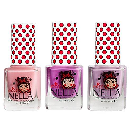 Miss Nella Bubble Gum, Little Poppet, Cheeky Bunny Glitter Special Glitzer Kinder Nagellack mit Peel Off auf Wasserbasis Formel -