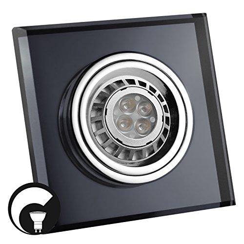 LED Einbaustrahler / Glas-Alu-Cristal / Spot / Einbauleuchte / Einbauspot / QUADRATISCH-SCHWARZ-118510 / GU10-230V (DIMMBAR / Warmweiß)