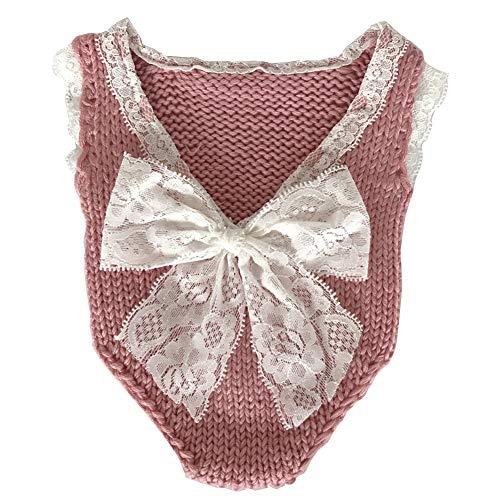 iSpchen Baby Fotografie Kleidung Neugeborenen Fotografie Requisiten Junge Mädchen Foto Manuelle Wolle Spitze Kostüme Outfits Strampler Set Geburtstagsgeschenk Haut Pink -