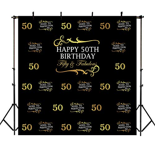Mehofoto Happy 50. Geburtstagskulisse 8x8ft fabelhaft fünfzig im Alter von Perfektion Foto Backdrops Black Birthday Party Feier Fotografie Hintergrund