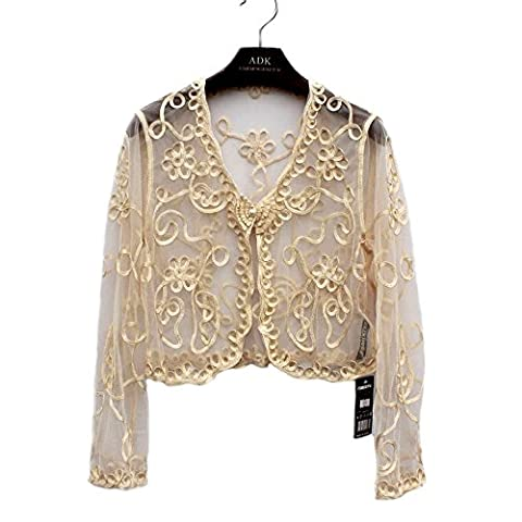 Women's Ladies Girls Long Sleeved Lace Mesh Gauze Crochet Knitted Cropped Crop Bolero Shrug Waistcoat Cardigan Jacket Top Shawl Wrap Wedding Party Evening Prom, Faux Pearls, One Size - 6, 8,10, 12 (Apricot)