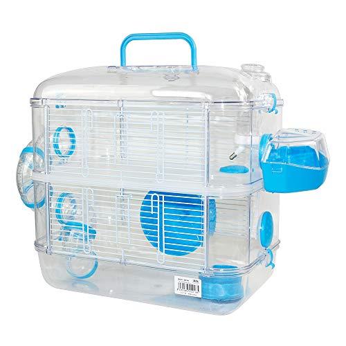 Jaulas para Hamster de plástico Duro, Jaula de Hamster L 2 Pisos Hamster caseta Bebedero comedero Rueda Todo Incluido 40 * 26 * 40cm (2 Piso, Azul)