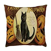ADESHOP Halloween Cushion Covers, 18 x 18 inch Halloween Theme Printing Throw Pillow Case Square Pillowcovers Cushions Home Decoration R3