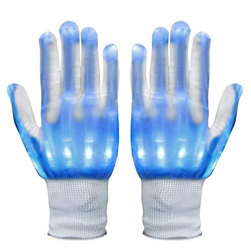 Neusky LED Leucht Handschuhe, Blink Party Leuchthandschuhe für Halloween, Karneval oder Mottoparties (Blau)