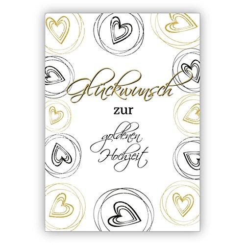 1 Elegante Glückwunschkarte mit Herzen zur goldenen Hochzeit: Glückwunsch zur goldenen Hochzeit