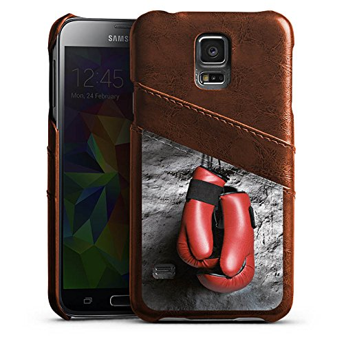 DeinDesign Samsung Galaxy S5 Neo Lederhülle Maroon Leder Case Leder Handyhülle Boxen Boxhandschuhe Fight