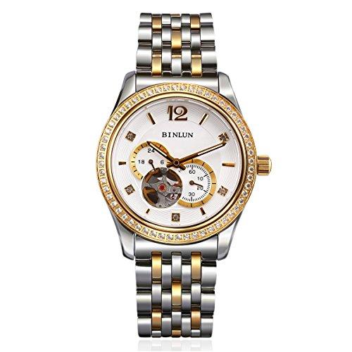 binlun 2Ton japanische Automatische Skelett Chronograph Edelstahl GMT 24Analog Armband Diamant Armbanduhr (Junior-stretch-tops)