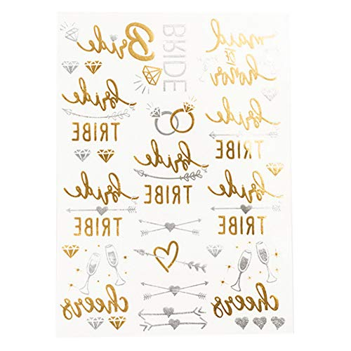Temporäre Tätowierung Wasserdichter Hot Stamp Bride Goldener Glitter Körper-Aufkleber Wedding Night Bachelor Party Tattoo-Aufkleber
