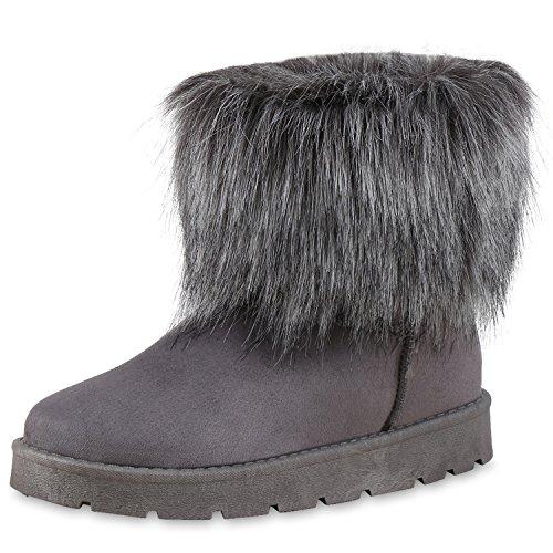napoli-fashion Bequeme & Warm Gefütterte Damen Schuhe Stiefel Schlupfstiefel Jennika Grau New