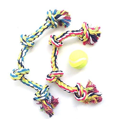HC 2pcs cuerdas nudos forma de hueso juguete para perro mascota mastica morder limpio diente con una pelota de regalo