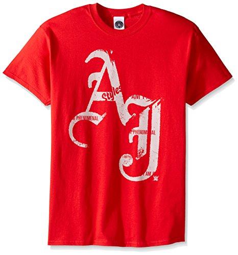 WWE Herren Aj Styles Initials T-Shirt - Rot - Mittel (Für Wwe-shirts Männer)