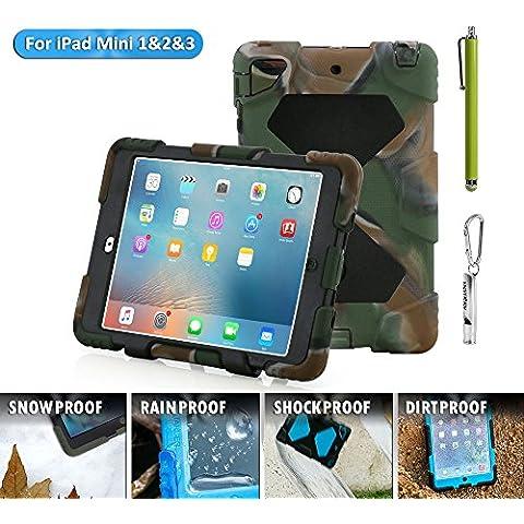 iPad Mini Funda, acegua rder® para niños, antigolpes, impermeable Series para iPad Mini 3/2/1Camo con soporte (Negro), Camo Schwarz, iPad Mini Hülle