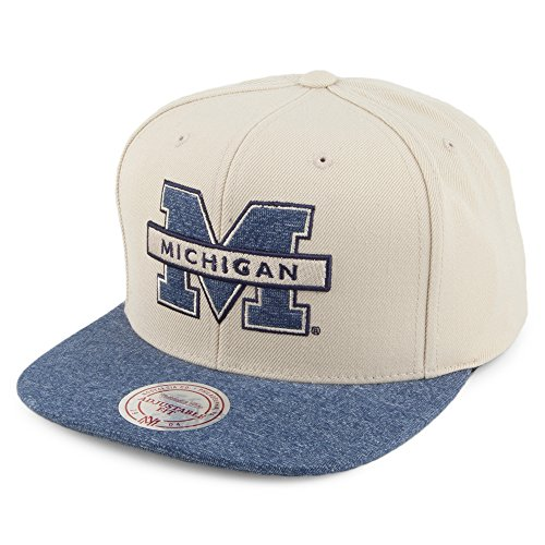 Casquette Snapback Melange Infill Michigan Wolverines MITCHELL & NESS Sable-Bleu Marine