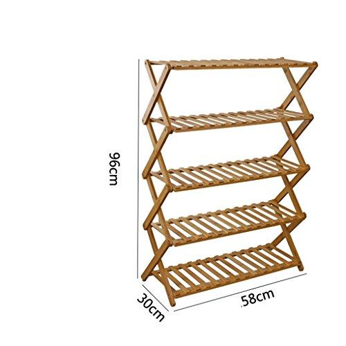 Chaussure Bamboo Shoe Simple Rack Moderne Simple Multi - Couche de poussière de Stockage en Bois Massif Cabinet Economie (Taille : 5)