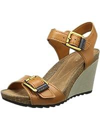 Clarks Overly Sparkle Damen Knöchelriemchen Sandalen mit Keilabsatz