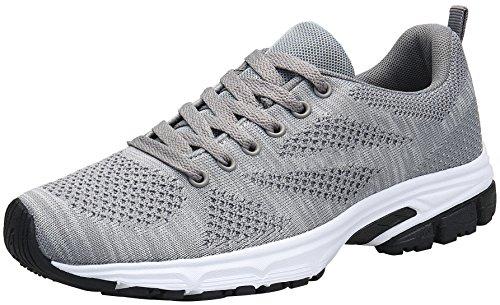 KOUDYEN Laufschuhe Turnschuhe Fitness Sportschuhe Rutschfeste Sneaker Herren Damen,fz888-grey-EU40
