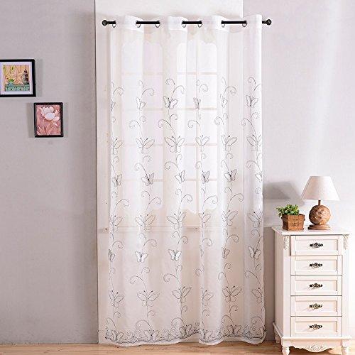 Topfinel Voile Ösenvorhänge mit Schmetterling-Stickerei Mustern Tülle Gardinen Decoschal für Wohnzimmer Schlafzimmer Fenster 1 Stück 175x140cm(HxB) Weiß