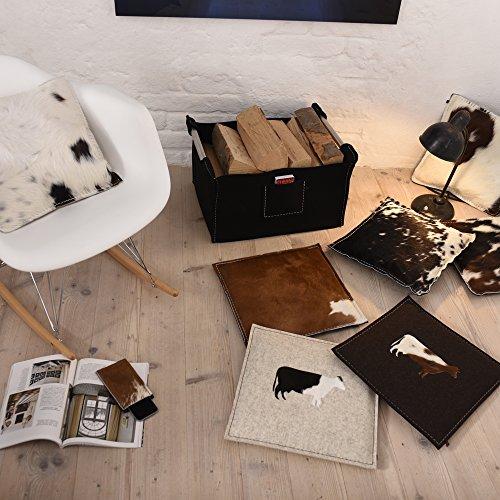 ebos Wollfilz Sitzkissen, 40x40cm✓ handgefertigt ✓ Kuh-Motiv aus Wollfilz/Kuhfell ✓Echtes Kuhfell ✓ 100% Wollfilz ✓ Dünn & bequem | Hochwertiges Stuhlkissen, Sitzpolster mit Füllung | Schönes Stuhl-Polster | Robustes Outdoor-Kissen, wasserabweisende Stuhl-Auflage