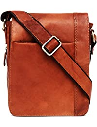Umhängetasche,Laptoptasche mit Riemen,Messenger,Echtesleder,Braun,Rot