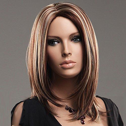 Aussehende, Kurze Gerade Mixed Braun Bob Synthetische Perücken Für Frauen Tägliche Verwendung Mit 1 Frei Perücke Kappe (Machen Sie Ein Ariel Kostüm)