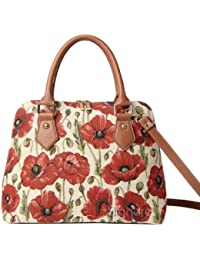 Signare Womens Fashion Canvas Tapestry Convertible Shoulder Bag In Poppy Design