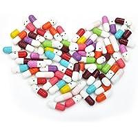 50pcs mensaje pastillas que deseen botella cápsula carta mitad Color pastillas
