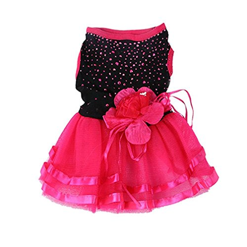 Dress Fancy Au (alkyoneus Pet Hund Rose Blume Gaze Tutu Kleid Puppy Katze Prinzessin Rock Kleidung)