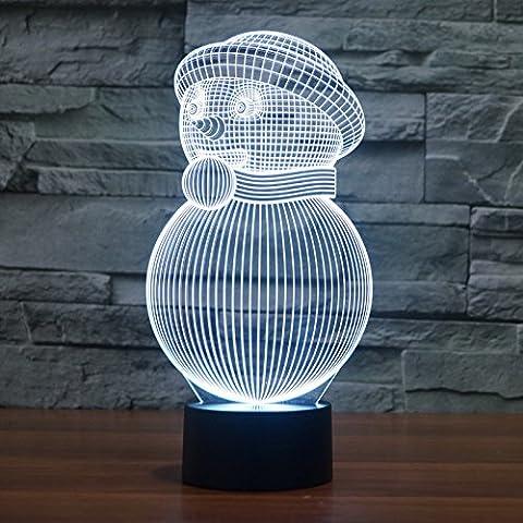 3d ilusión lámpara jawell muñeco de nieve noche luz 7colores cambiantes Touch USB mesa niza regalo juguetes