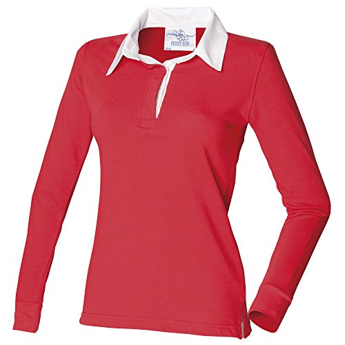 Front Row Womens long sleeve plain rugby shirt Red/ White