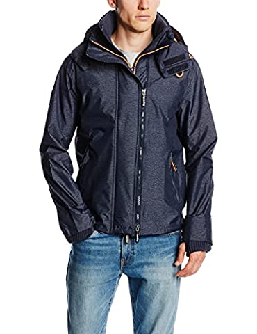 SUPERDRY Herren Regenjacke Technical Hooded Pop Zip Windc, Blau,