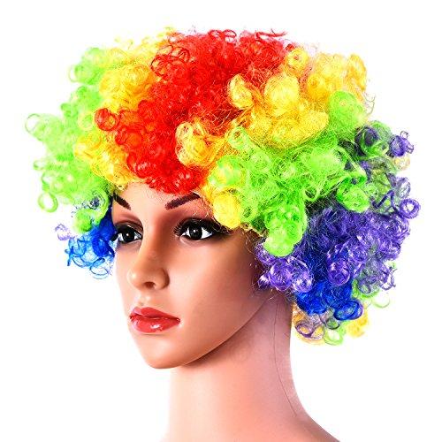 Hicarer Regenbogen Afro Perücke Mehrfarbig Lockig Perücke Halloween Kostüm Perücke für Halloween Cosplay Party (Afro Halloween Kostüme)