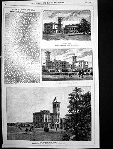Antiker Druck-Königlicher Wohnsitz Osborne-Haus-Insel Wight-NordEingangs-Front 1887