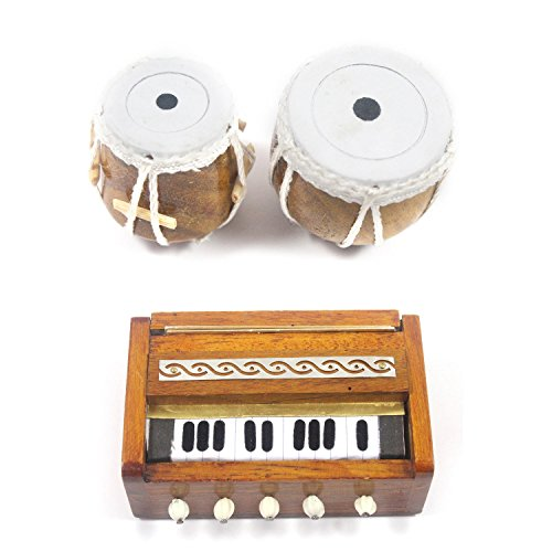 Handmade Crafted Miniature Wooden Tabla Set & Harmonium (2 Set Fridge Magnets) / Handmade Authentic Classical Indian Music Instrument  available at amazon for Rs.899