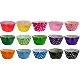 180 Muffin Cases: Mixed Colours and Polka Dot Designs