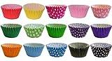 180 Muffinförmchen: 15 gemischte Farben & Pünktchen Designs / 180 Muffin Cases: 15 Mixed Colours and Polka Dot Designs