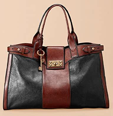 Sacs Cuir femmes FOSSIL WOMEN BAG WOMAN VRI WEEKENDER BLACK/BROWN ZB4908015