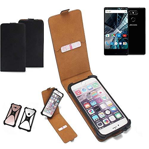 K-S-Trade Flipstyle Case für Archos Sense 55 S Schutzhülle Handy Schutz Hülle Tasche Handytasche Handyhülle + integrierter Bumper Kameraschutz, schwarz (1x)