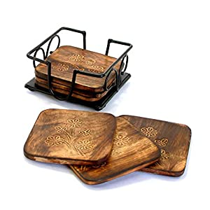Wood Art Store Handmade Wooden Mango Wood Tea, Coffee Coaster Set with Wrought Iron Holder Decorative Holder (Square) | Tabletop | Dining Table | Gift Item (Squre)