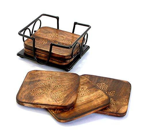 Wood Art Store Handmade Wooden Mango Wood Tea, Coffee Coaster Set with Wrought Iron Holder Decorative Holder (Square…