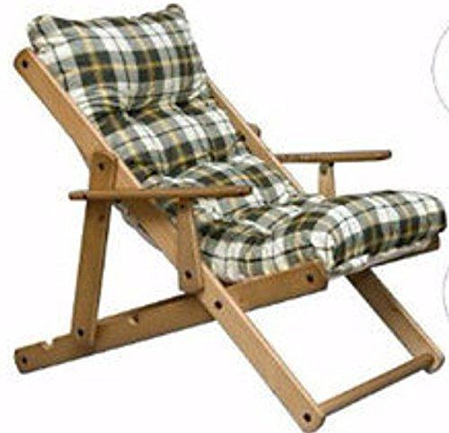 Fauteuil relax chaise longue en bois 3 positions, pliable, avec coussin intégré, hauteur 100 cm, pour le salon ou la cuisine vert