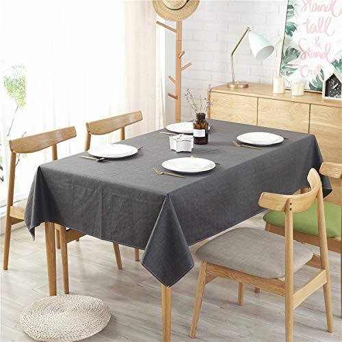 Grecal Tischdecke Volltonfarbe Dekoration Elegante Leinen Tischdecke Wasserdichte Tischdecke für Esstisch in verschiedenen Größen(Schwarz 135 x 135 cm)