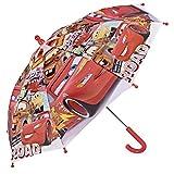 Cars Kinder Schirm - Disney Pixar Stockschirm mit Lightning McQueen - Robuster und Windfester Regenschirm - Mehrfarbig - 3 bis 5 Jahre - Durchmesser 66 cm - Perletti