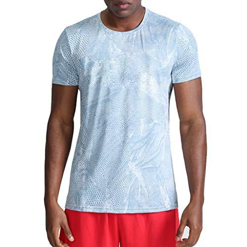 Performance T-Shirt, Atmungsaktiv Herren Sport Kurzarmshirt Top Camo Print Shirt Schnell trocknend für Training Gym Fitness & Bodybuilding Adult-patchwork Shirt